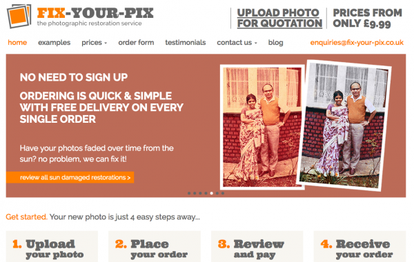 Fix Your Pix Photo Repair Website Build